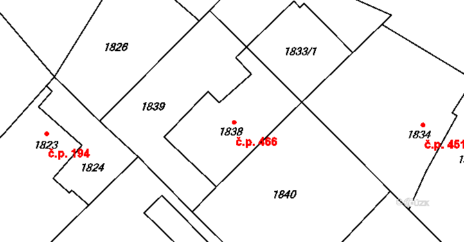 Bartovice 466, Ostrava na parcele st. 1838 v KÚ Bartovice, Katastrální mapa