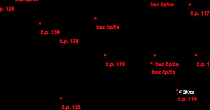 Nová Ves u Nového Města na Moravě 119 na parcele st. 357 v KÚ Nová Ves u Nového Města na Moravě, Katastrální mapa