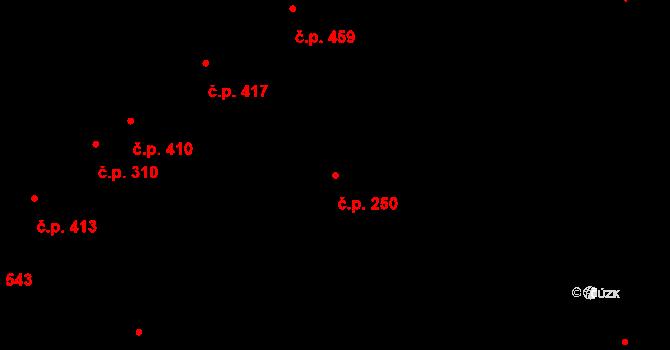 Podivín 250 na parcele st. 819 v KÚ Podivín, Katastrální mapa