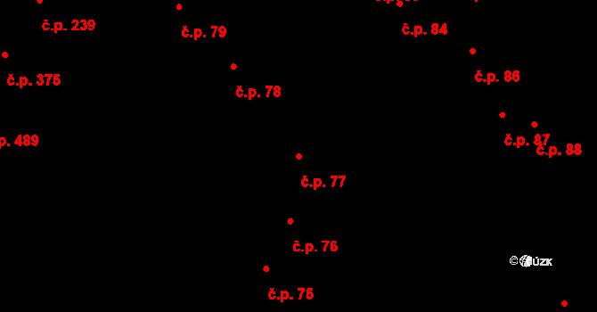 Hradec Králové 77 na parcele st. 105 v KÚ Hradec Králové, Katastrální mapa