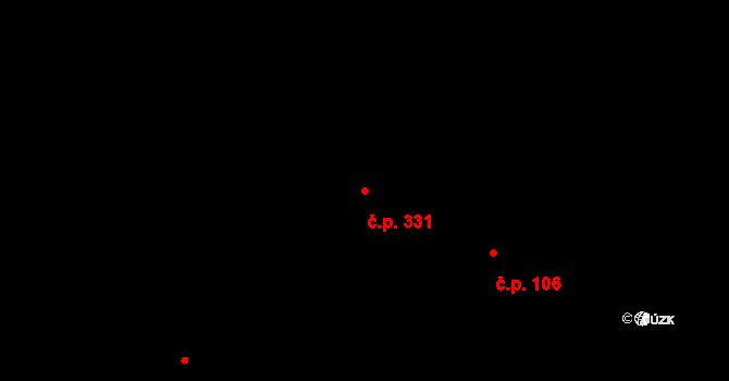 Svinary 331, Hradec Králové na parcele st. 740 v KÚ Svinary, Katastrální mapa