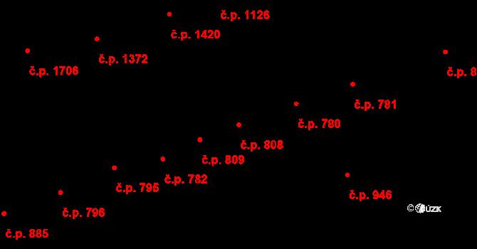 Strážnice 808 na parcele st. 1128 v KÚ Strážnice na Moravě, Katastrální mapa