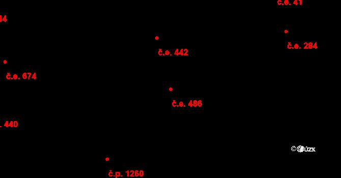 Komín 486, Brno na parcele st. 2597 v KÚ Komín, Katastrální mapa