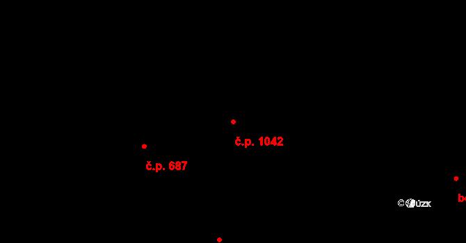 Újezd u Brna 1042 na parcele st. 1904/4 v KÚ Újezd u Brna, Katastrální mapa