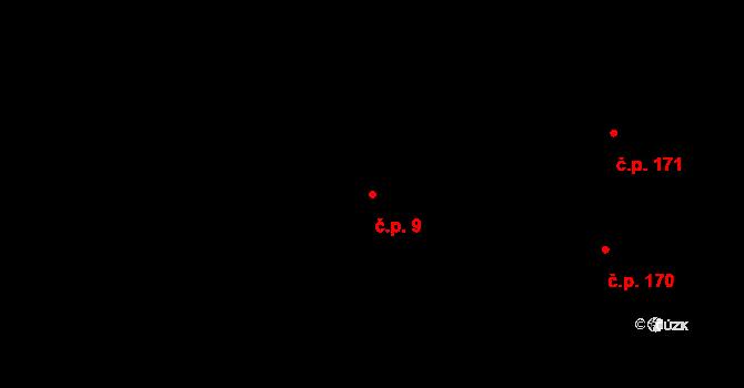 Malé Březno 9 na parcele st. 629 v KÚ Malé Březno nad Labem, Katastrální mapa