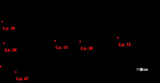 Lhota u Příbramě 38 na parcele st. 9 v KÚ Lhota u Příbramě, Katastrální mapa
