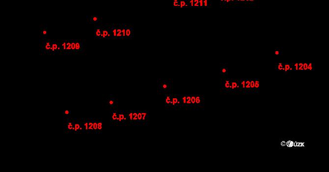 Horní Litvínov 1206, Litvínov na parcele st. 1989 v KÚ Horní Litvínov, Katastrální mapa