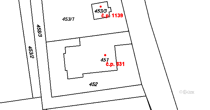 Stonava 831 na parcele st. 451 v KÚ Stonava, Katastrální mapa