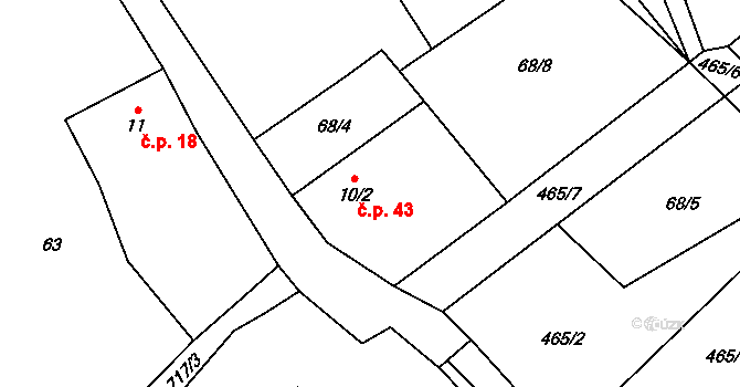 Kruh 43, Doksy na parcele st. 10/2 v KÚ Kruh v Podbezdězí, Katastrální mapa