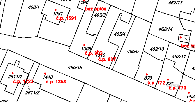 Lysá nad Labem 907 na parcele st. 1310 v KÚ Lysá nad Labem, Katastrální mapa