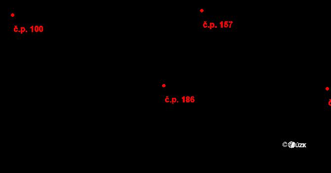 Obořiště 186 na parcele st. 275 v KÚ Obořiště, Katastrální mapa