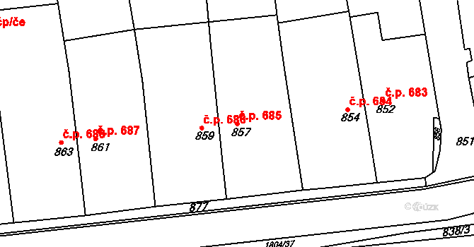 Brumov 685, Brumov-Bylnice na parcele st. 857 v KÚ Brumov, Katastrální mapa