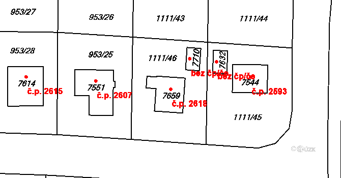 Cheb 2618 na parcele st. 7659 v KÚ Cheb, Katastrální mapa