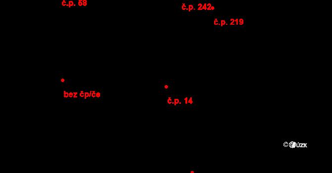 Lípa 14 na parcele st. 266 v KÚ Lípa nad Dřevnicí, Katastrální mapa