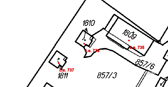 Čeladná 736 na parcele st. 1810 v KÚ Čeladná, Katastrální mapa