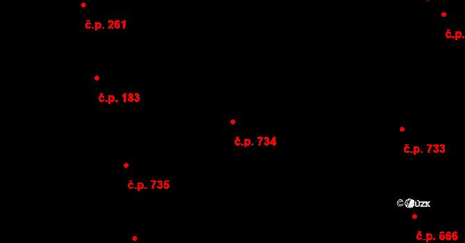 Prštné 734, Zlín na parcele st. 1185 v KÚ Prštné, Katastrální mapa