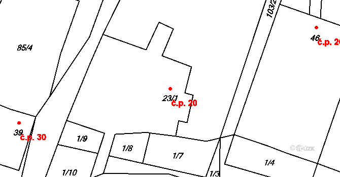Mlynářovice 20, Volary na parcele st. 23/1 v KÚ Mlynářovice u Volar, Katastrální mapa