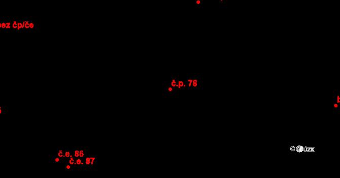 Malé Březno 78 na parcele st. 110/1 v KÚ Malé Březno, Katastrální mapa