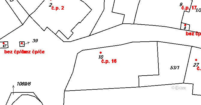 Svárkov 16, Letiny na parcele st. 10 v KÚ Svárkov, Katastrální mapa