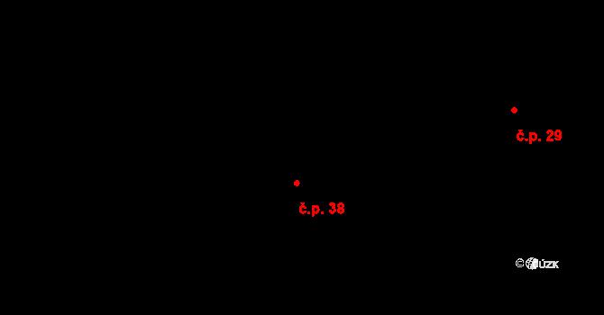 Mohelnice 38 na parcele st. 43 v KÚ Mohelnice u Nepomuka, Katastrální mapa