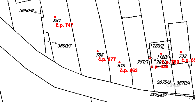 Bojkovice 677 na parcele st. 788 v KÚ Bojkovice, Katastrální mapa