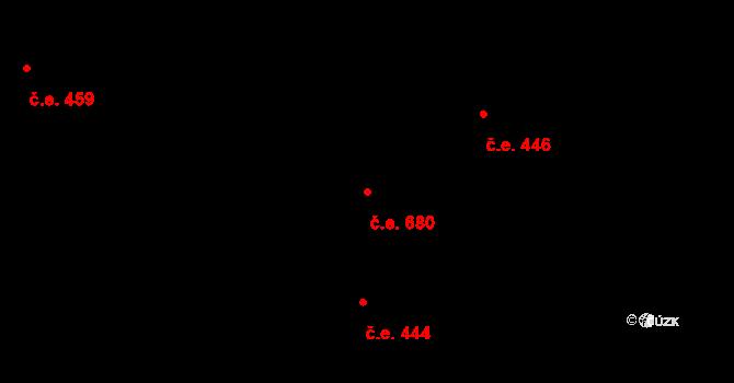 Komín 680, Brno na parcele st. 2610/2 v KÚ Komín, Katastrální mapa