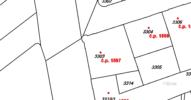 Jihlava 1597 na parcele st. 3303 v KÚ Jihlava, Katastrální mapa