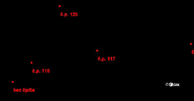 Studánka 117 na parcele st. 155 v KÚ Studánka u Tachova, Katastrální mapa