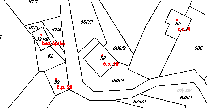 Bzí 19, Železný Brod na parcele st. 58 v KÚ Bzí u Železného Brodu, Katastrální mapa