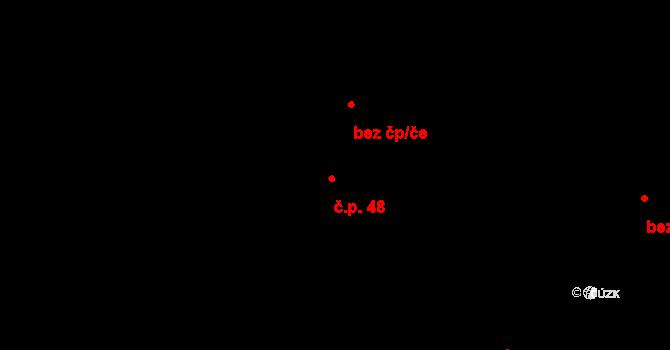 Masojedy 48 na parcele st. 134 v KÚ Masojedy, Katastrální mapa