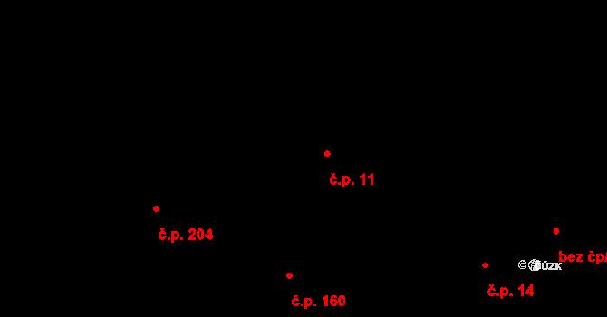 Všeruby 11 na parcele st. 72 v KÚ Všeruby u Plzně, Katastrální mapa